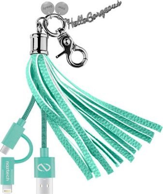 Hello Gorgeous MFI Hybrid Cable Tassel Key Chain Teal - Hello Gorgeous Electronic Accessories