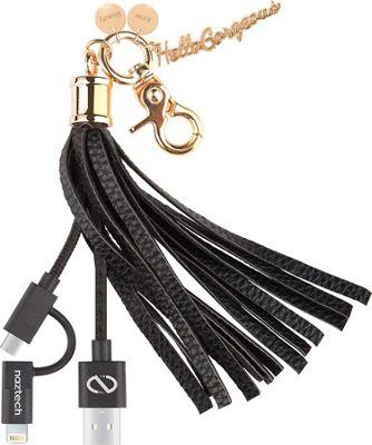 Hello Gorgeous MFI Hybrid Cable Tassel Key Chain Black - Hello Gorgeous Electronic Accessories