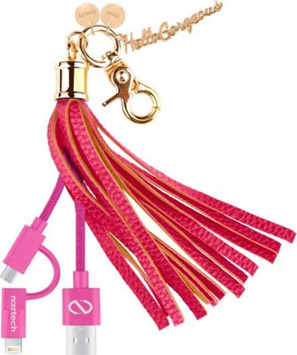 Hello Gorgeous MFI Hybrid Cable Tassel Key Chain Pink - Hello Gorgeous Electronic Accessories