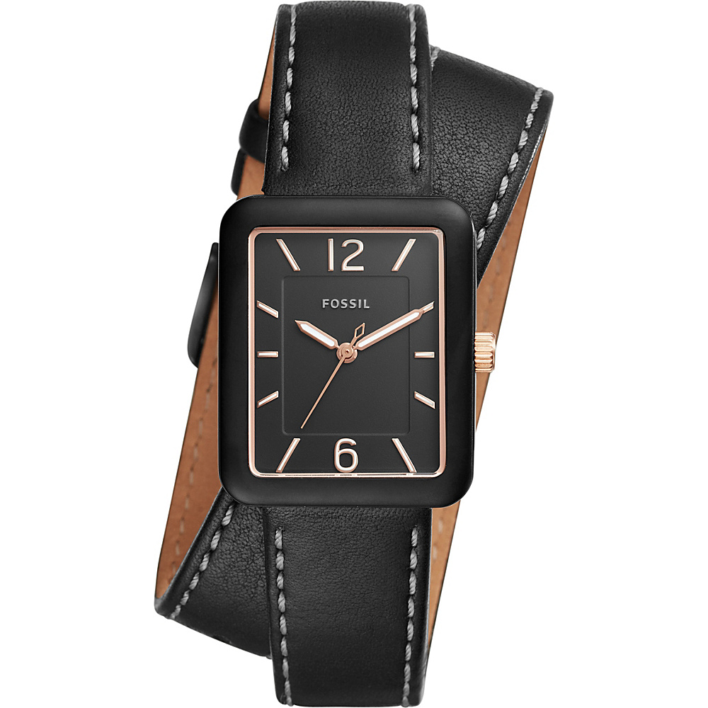 Fossil Atwater 3-Hand Leather Wrap Watch Black - Fossil Watches - Fashion Accessories, Watches