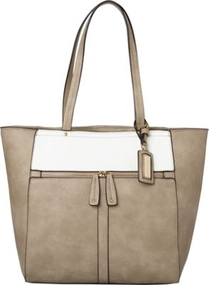 Hush Puppies Cassale Tote Taupe/White - Hush Puppies Manmade Handbags