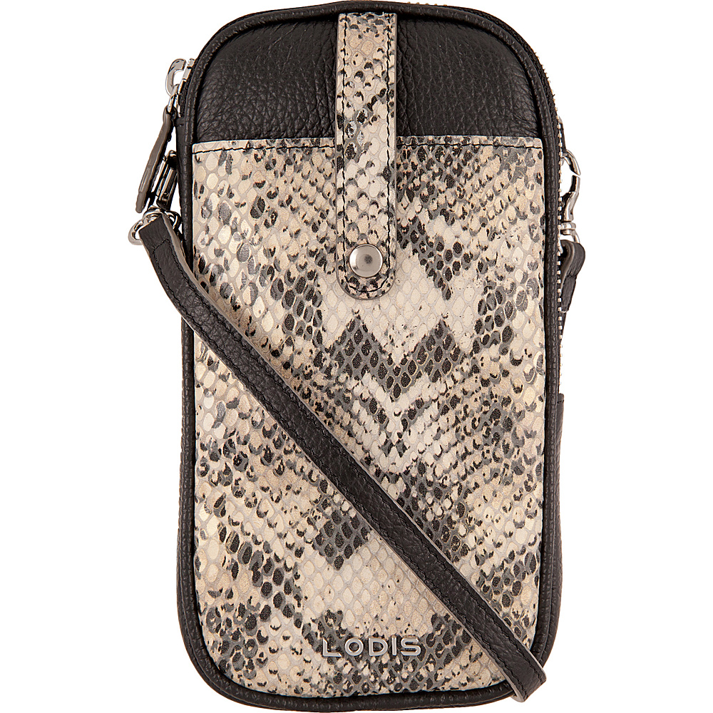 Lodis Kate Exotic Blossom Mini Crossbody Black/Taupe - Lodis Leather Handbags - Handbags, Leather Handbags