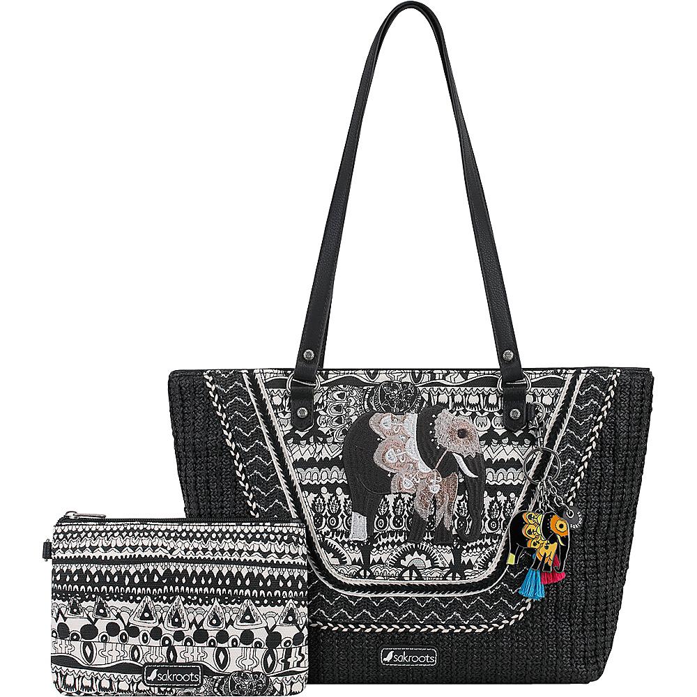 Sakroots Meadow Medium Satchel Black & White One World - Sakroots Fabric Handbags - Handbags, Fabric Handbags