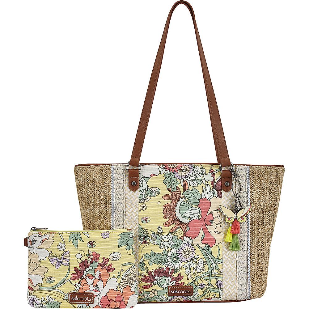 Sakroots Meadow Medium Satchel Sunlight Flower Power - Sakroots Fabric Handbags - Handbags, Fabric Handbags