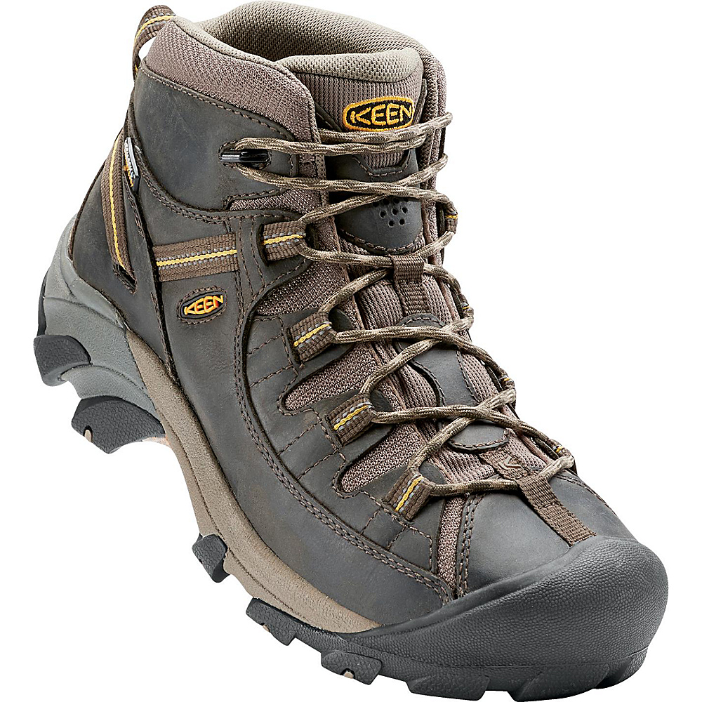KEEN Mens Targhee II Mid Waterproof Hiking Boot 10.5 - M (Regular/Medium) - Black Olive/Yellow - KEEN Mens Footwear - Apparel & Footwear, Men's Footwear