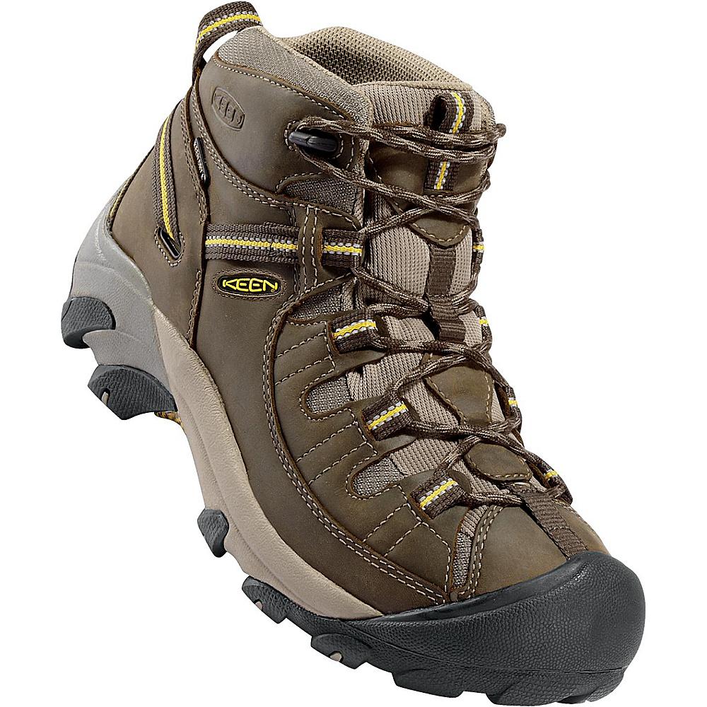 KEEN Mens Targhee II Mid Waterproof Hiking Boot 9 - W (Wide) - Brown Olive/ Yellow - KEEN Mens Footwear - Apparel & Footwear, Men's Footwear