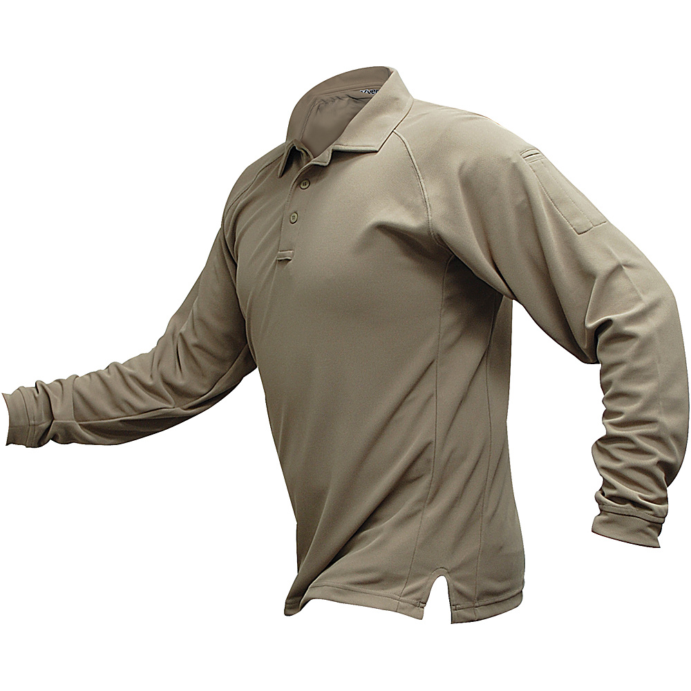 Vertx Mens Coldblack Long Sleeve Polo 2XL - Tan - Vertx Mens Apparel - Apparel & Footwear, Men's Apparel