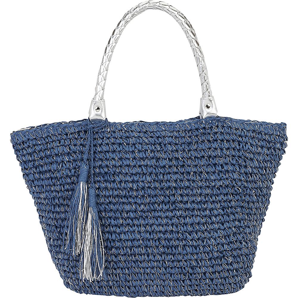 Sun N Sand Natural Crochet Handbag Tote Blue - Sun N Sand Straw Handbags - Handbags, Straw Handbags