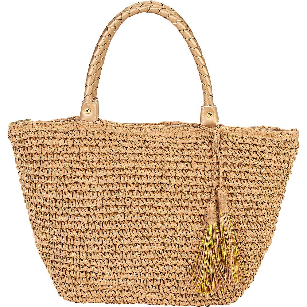 Sun N Sand Natural Crochet Handbag Tote Tan - Sun N Sand Straw Handbags - Handbags, Straw Handbags