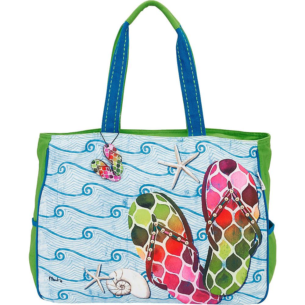Sun N Sand Paul Brent Artistic Canvas Tote Green Wave Flip Flops - Sun N Sand Fabric Handbags - Handbags, Fabric Handbags