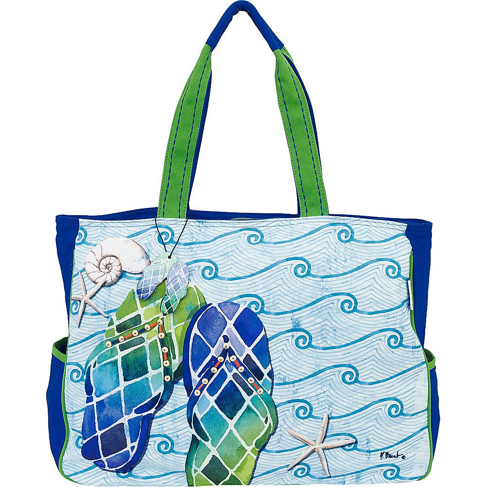 Sun N Sand Paul Brent Artistic Canvas Tote Blue Wave Flip Flops - Sun N Sand Fabric Handbags - Handbags, Fabric Handbags