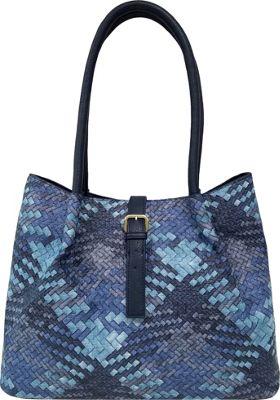 Bueno Woven Tote Denim Multi/Navy - Bueno Manmade Handbags