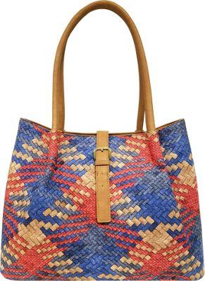 Bueno Woven Tote Blue/Coral Multi - Bueno Manmade Handbags