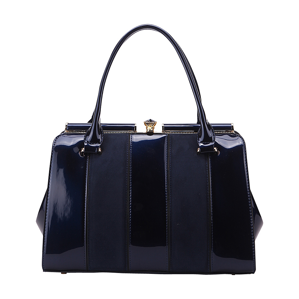 MKF Collection by Mia K. Farrow Patent Celebrity Style Satchel Blue - MKF Collection by Mia K. Farrow Manmade Handbags - Handbags, Manmade Handbags