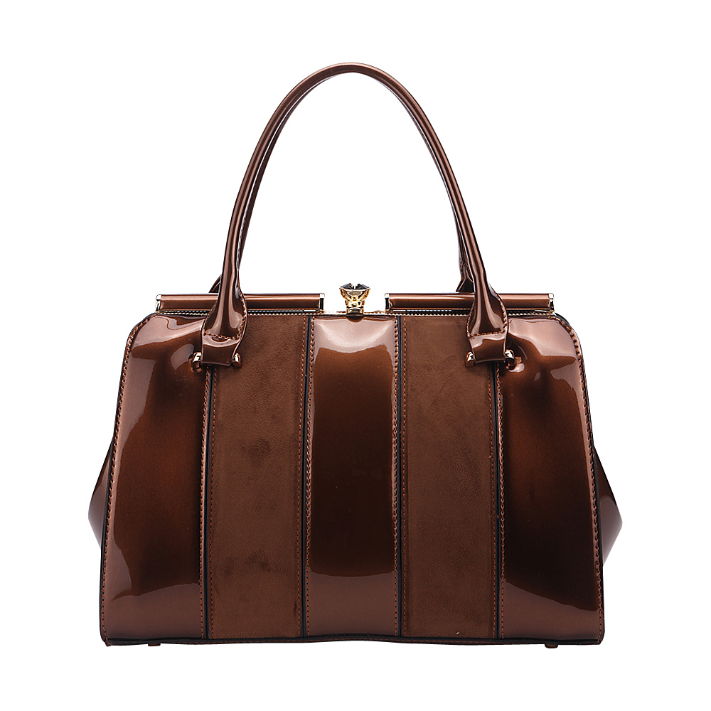 MKF Collection by Mia K. Farrow Patent Celebrity Style Satchel Bronze - MKF Collection by Mia K. Farrow Manmade Handbags - Handbags, Manmade Handbags