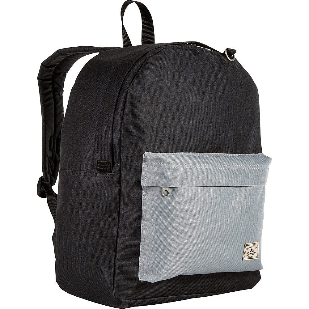 Everest Classic Color Block Backpack Black/Gray - Everest School & Day Hiking Backpacks - Backpacks, School & Day Hiking Backpacks