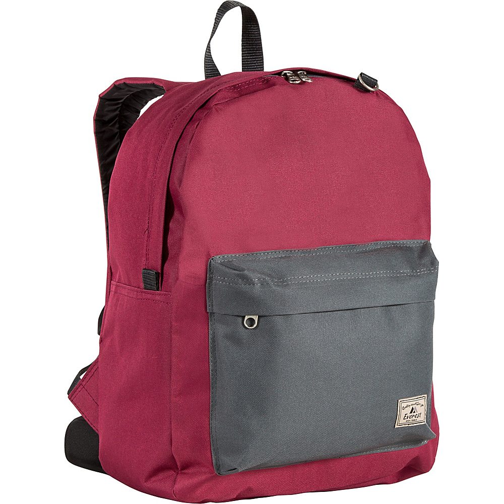 Everest Classic Color Block Backpack Burgundy/Charcoal - Everest School & Day Hiking Backpacks - Backpacks, School & Day Hiking Backpacks