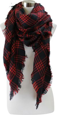 Lava Accessories Windowpane Plaid Blanket Scarf Black - Lava Accessories Scarves