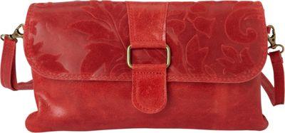 Sharo Leather Bags Textured Italian Leather Clutch and Shoulder Bag Red - Sharo Leather Bags Leather Handbags