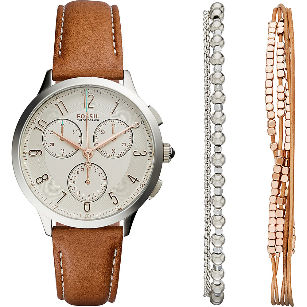 Fossil Abilene Chronograph Watch and Jewelry Box Set Brown - Fossil Watches - Fashion Accessories, Watches