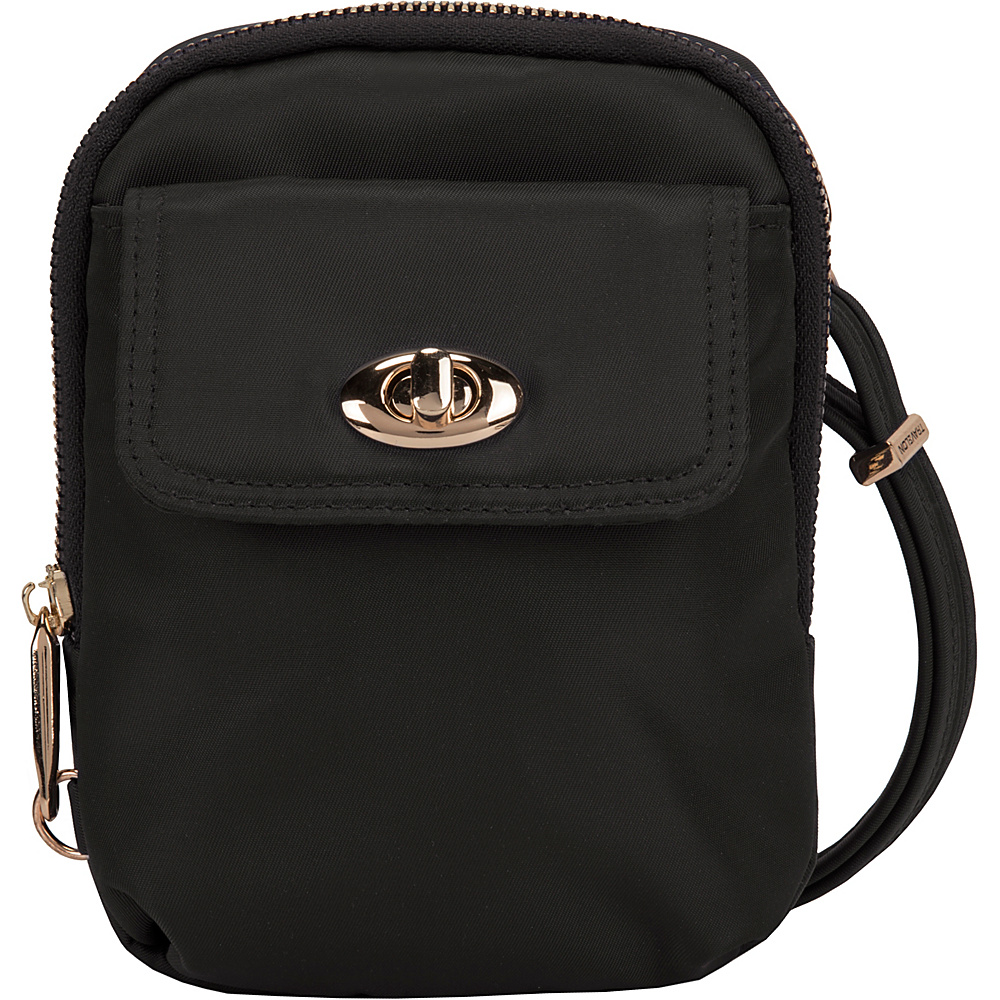 Travelon Anti-Theft Tailored Crossbody Phone Pouch Onxy/Royal Purple Interior - Travelon Fabric Handbags - Handbags, Fabric Handbags