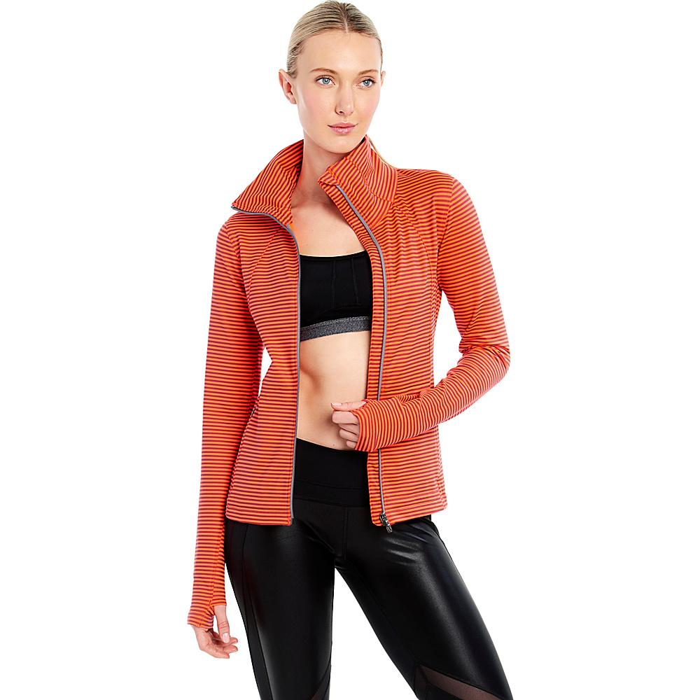 Lole Essential Cardigan XS - Fiery Coral Stripe - Lole Womens Apparel - Apparel & Footwear, Women's Apparel