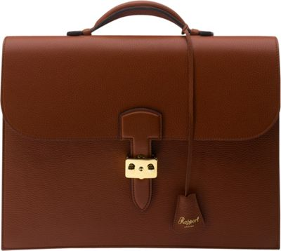 Rapport London Berkeley Grain Leather Briefcase Brown - Rapport London Non-Wheeled Business Cases