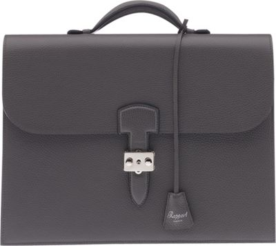 Rapport London Berkeley Grain Leather Briefcase Grey - Rapport London Non-Wheeled Business Cases