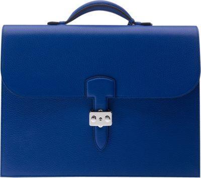 Rapport London Berkeley Grain Leather Briefcase Blue - Rapport London Non-Wheeled Business Cases