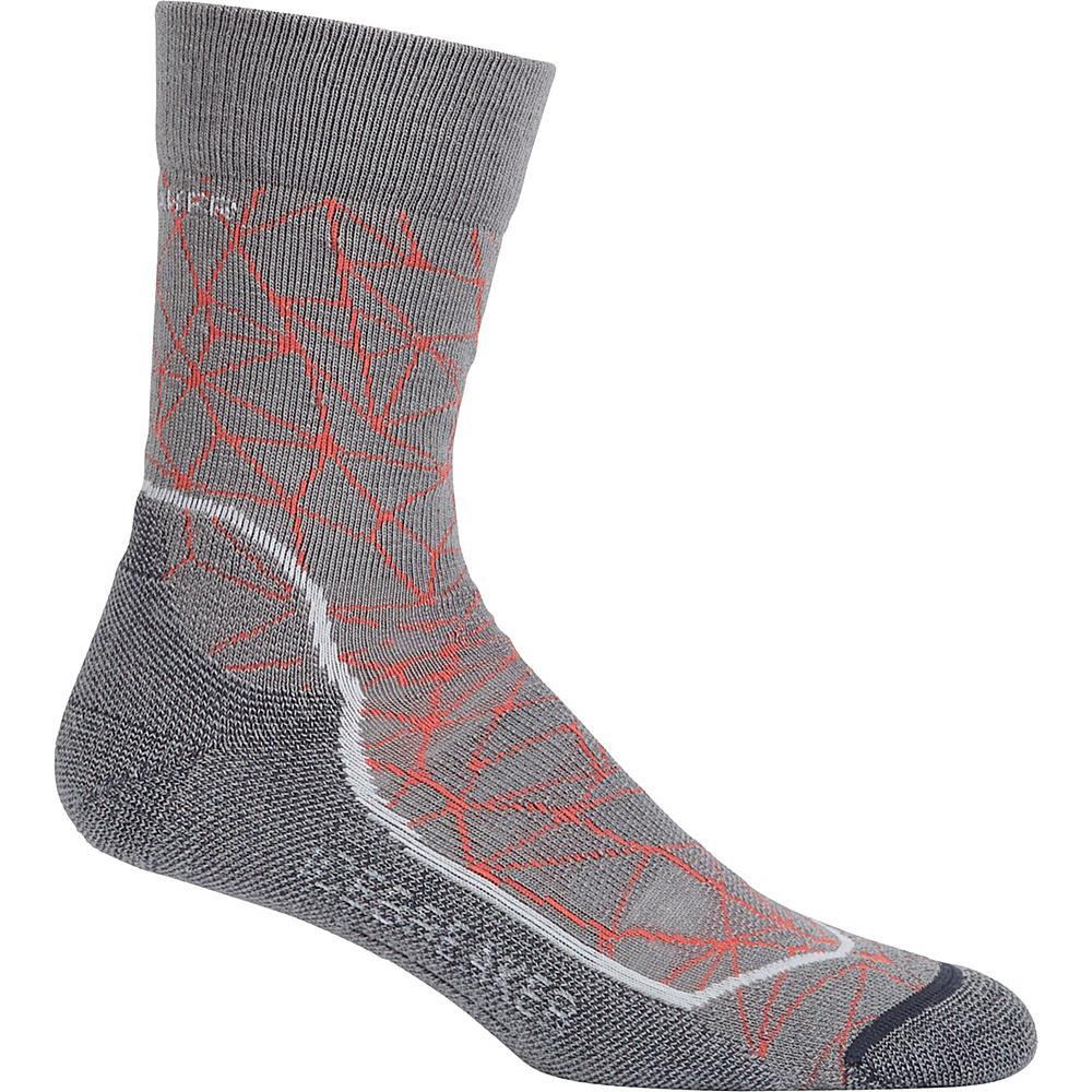 Icebreaker Womens Hike+ Light Crew Sock M - Fossil/Snow/Jet Heather - Icebreaker Womens Legwear/Socks - Apparel & Footwear, Women's Legwear/Socks