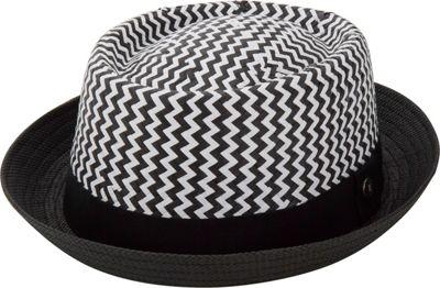 Ben Sherman Two Tone Pork Pie Straw Trilby S/M - Black - Ben Sherman Hats