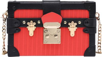 SW Global Acadia Treasure Box Clutch Red - SW Global Manmade Handbags