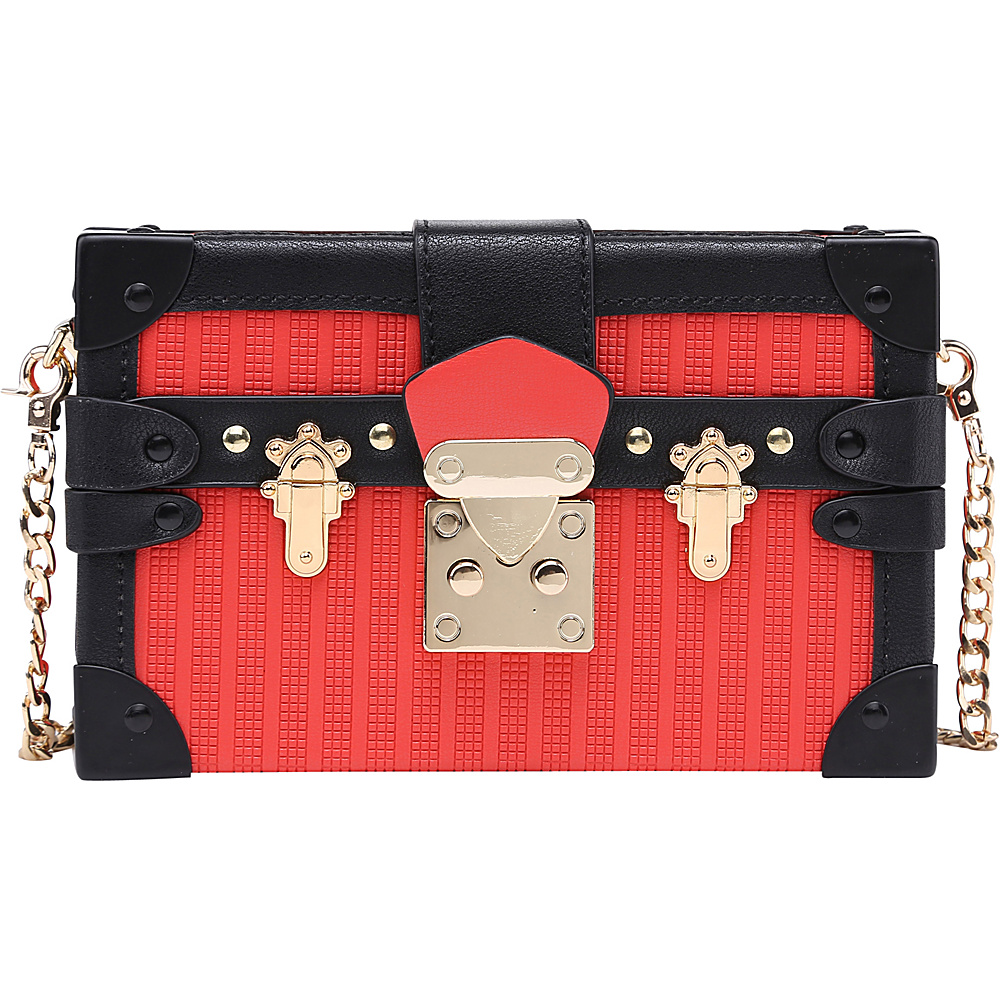 SW Global Acadia Treasure Box Clutch Red - SW Global Manmade Handbags - Handbags, Manmade Handbags