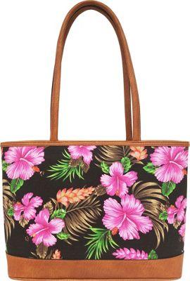 Bueno Canvas Tote Black Floral - Bueno Fabric Handbags