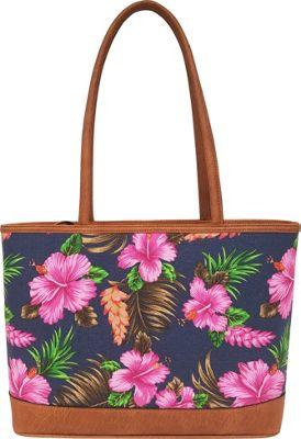 Bueno Canvas Tote Navy Floral - Bueno Fabric Handbags