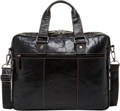 Jack Georges Voyager Large Double Gusset Top Zip Briefcase Black - Jack Georges Non-Wheeled Business Cases