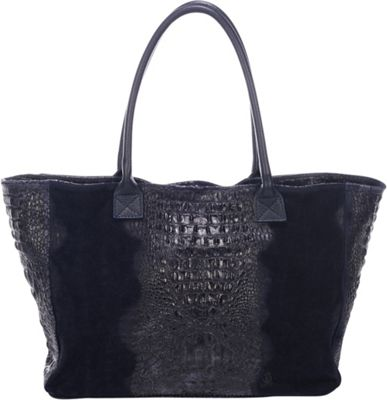 Lisa Minardi Suede Croco Tote Blue - Lisa Minardi Leather Handbags