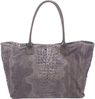 Lisa Minardi Suede Croco Tote Grey - Lisa Minardi Leather Handbags