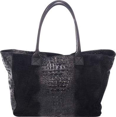 Lisa Minardi Suede Croco Tote Black - Lisa Minardi Leather Handbags