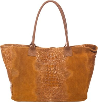 Lisa Minardi Suede Croco Tote Cognac - Lisa Minardi Leather Handbags