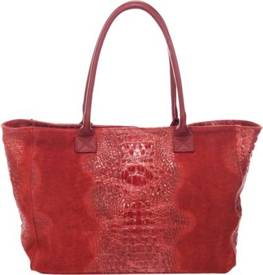 Lisa Minardi Suede Croco Tote Bordo - Lisa Minardi Leather Handbags