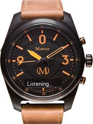 Martian Watches Martian PTL 02 Smartwatch Black Dial / Black Case / Light Brown Leather Stra - Martian Watches Wearable Technology