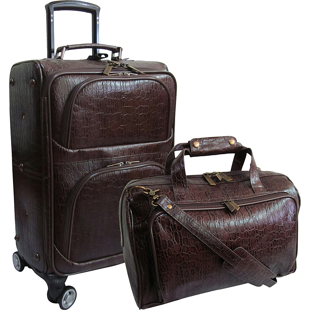 AmeriLeather Traveler Rock-Print Two Piece Spinner Wheels Luggage Set Dark Brown - AmeriLeather Luggage Sets - Luggage, Luggage Sets