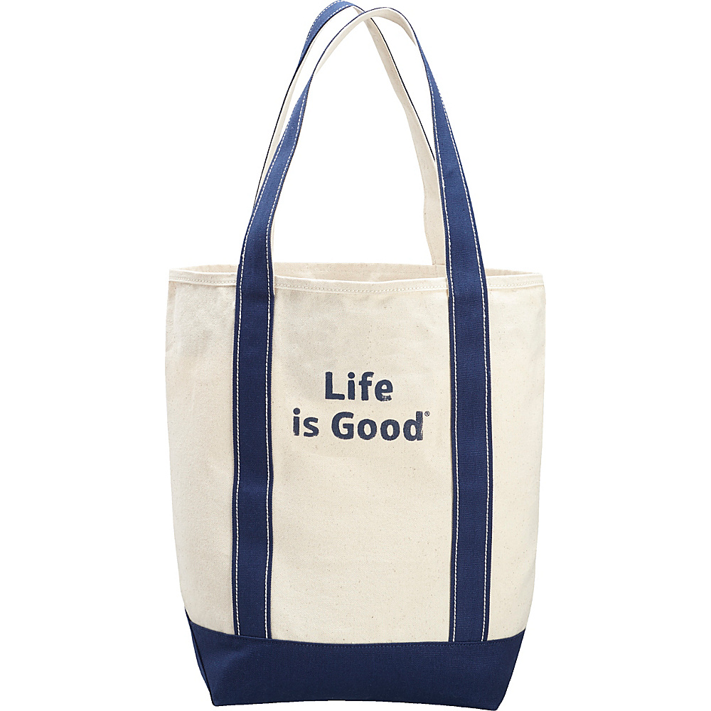 Life is good Carry On Canvas Tote Natural and Darkest Blue - Life is good All-Purpose Totes - Travel Accessories, All-Purpose Totes