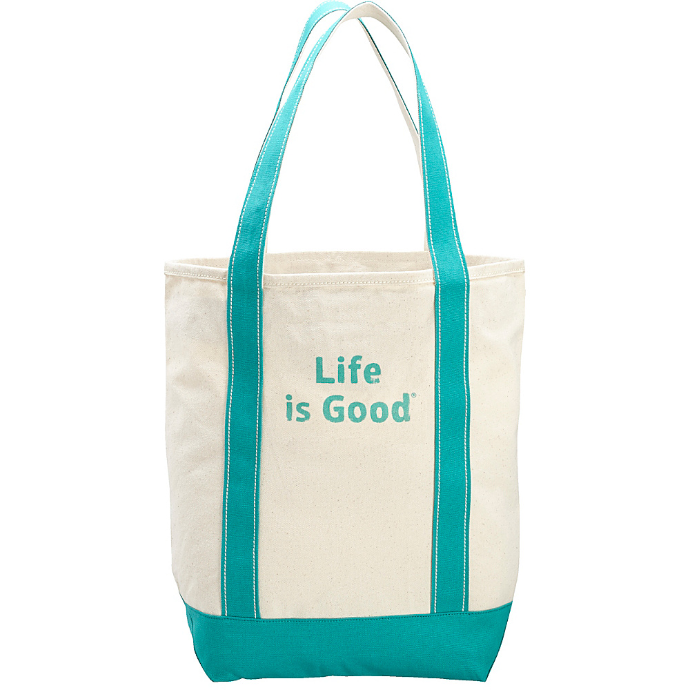 Life is good Carry On Canvas Tote Natural and Bright Teal - Life is good All-Purpose Totes - Travel Accessories, All-Purpose Totes