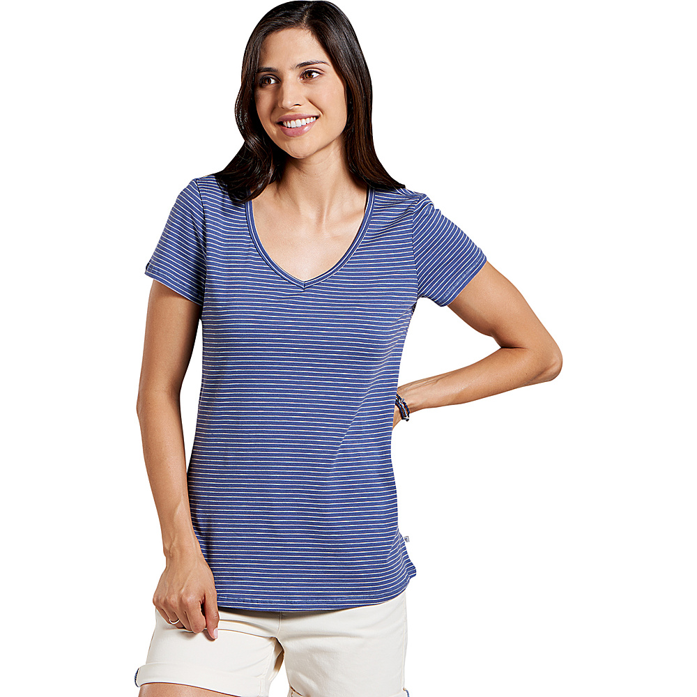 Toad & Co Marley Short Sleeve Tee S - Blueberry Stripe - Toad & Co Womens Apparel - Apparel & Footwear, Women's Apparel