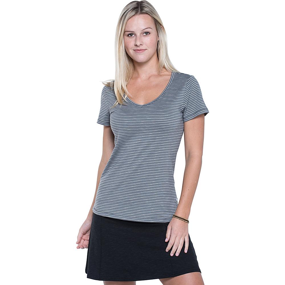 Toad & Co Marley Short Sleeve Tee M - Smoke Lean Stripe - Toad & Co Womens Apparel - Apparel & Footwear, Women's Apparel