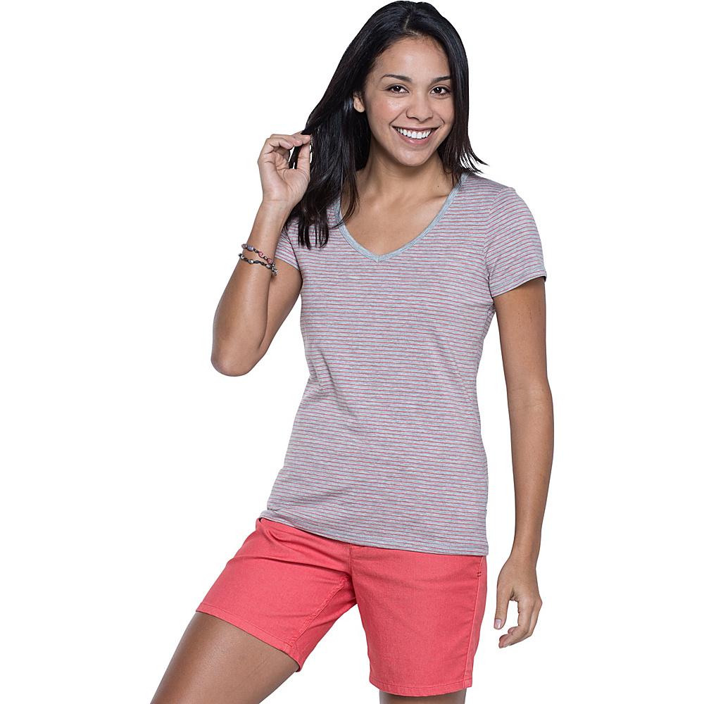 Toad & Co Marley Short Sleeve Tee M - Heather Grey Stripe - Toad & Co Womens Apparel - Apparel & Footwear, Women's Apparel