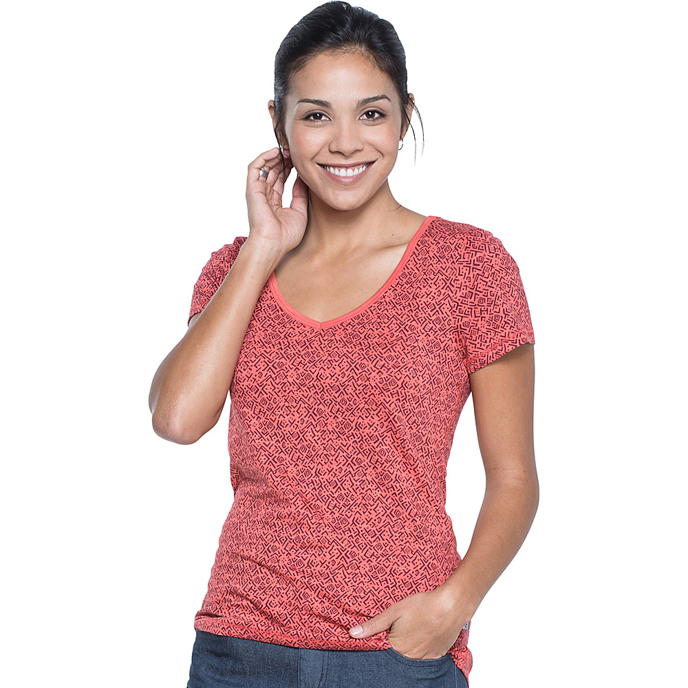 Toad & Co Marley Short Sleeve Tee XS - Spiced Coral Geo Print - Toad & Co Womens Apparel - Apparel & Footwear, Women's Apparel