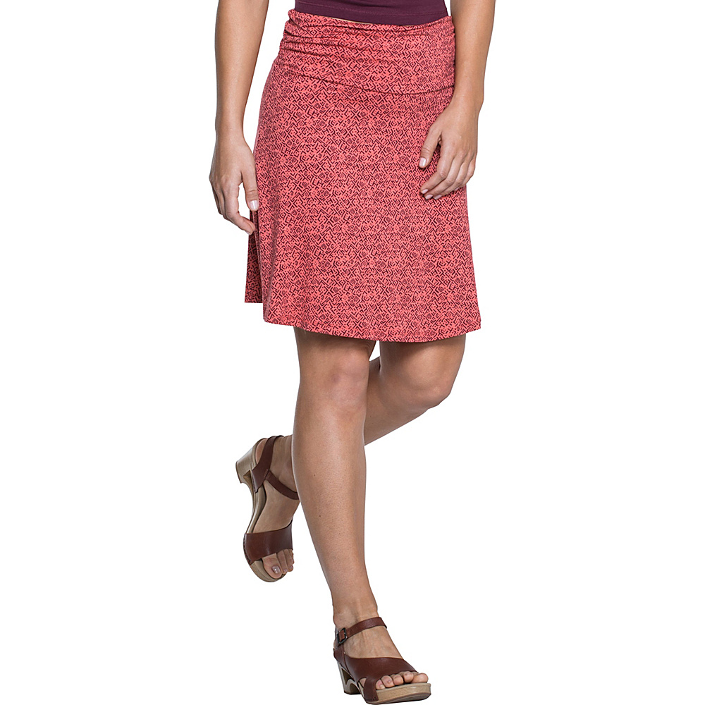 Toad & Co Chaka Skirt XS - Spiced Coral Geo Print - Toad & Co Womens Apparel - Apparel & Footwear, Women's Apparel